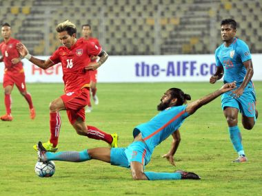 India's Sandesh Jhingan thwarts a Myanmar attack during their AFC Asian Cup qualifier on Tuesday. PTI