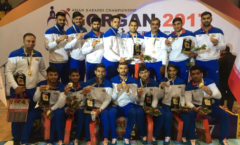 India pose with their gold medals after winning Asian Kabaddi Championship in Iran. Image Courtesy: AKFI