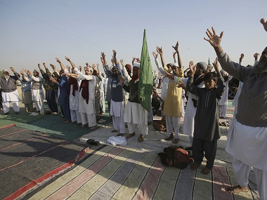 Supporters of religious groups at a rally. AP