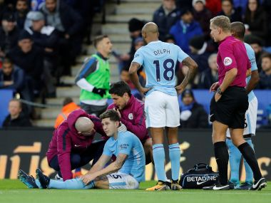 John Stones got injured during Manchester City's 2-0 win over Leicester City on Saturday. Reuters