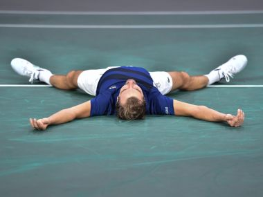 Julien Benneteau celebrates winning against Marin Cilic at the Paris Masters. AFP