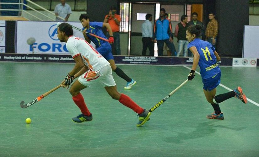 Action from the match between Uttar Pradesh and Punjab. Image courtesy: Facebook/Hockey India