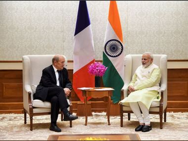 France's Minister for Europe and Foreign Affairs, Mr. JY LeDrian met PM Narendra modi in Delhi. Twitter/ @PMOIndia