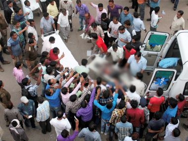 File image of injured being taken to a district hospital after the explosion at the NTPC plant. PTI