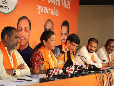 Defence minister Nirmala Sitharaman attends a press conference in Ahmedabad. Twitter @nsitharaman