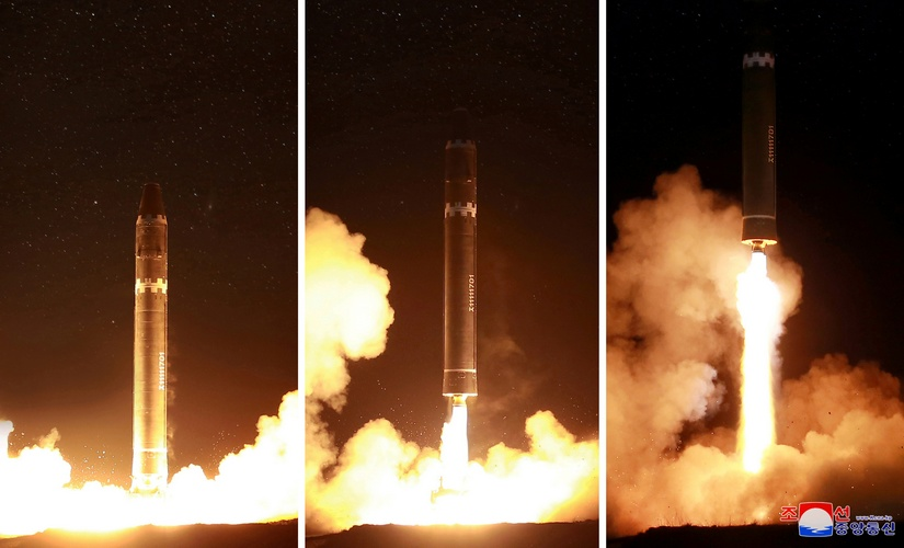 A view of the newly developed intercontinental ballistic rocket Hwasong-15's test was successfully launched is seen in this undated photo released by North Korea's Korean Central News Agency (KCNA). Reuters