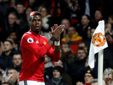 Manchester United's Paul Pogba applauds the fans as he leaves the field in the match against Newcastle. Reuters