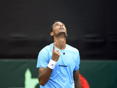 India's Ramkumar Ramanathan reacts after winning the Davis Cup singles match against New Zealand's Finn Tearney at Pune's Balewadi Sports Complex in February this year. AFP