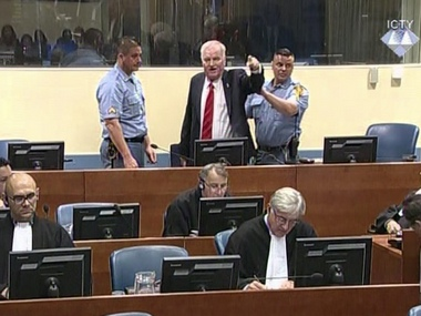 Bosnian Serb military chief Ratko Mladic during an angry outburst in the Yugoslav War Crimes Tribunal in The Hague, Netherlands, Wednesday. AP