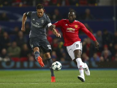 File image of Manchester United's Romelu Lukaku fighting for the ball with Benfica's Jardel. AP