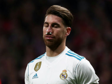 Real Madrid's Sergio Ramos with a injury to his nose. Reuters