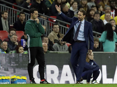 England manager Gareth Southgate protests during the international friendly against Brazil. AP