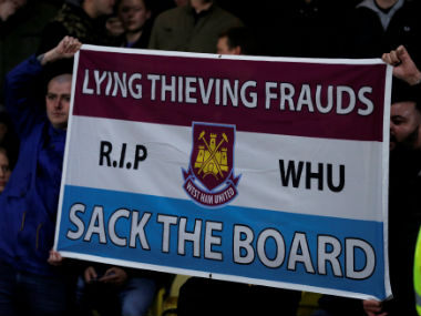 A set of angry West Ham United fans during a Premier League game against Crystal Palace. Reuters