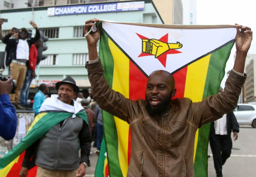 Protesters gather calling for Zimbabwean President Robert Mugabe to step down in Harare. Reuters