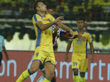 Dimitar Berbatov in action for Kerala Blasters FC. The Yellow Brigade would be looking at their talisman for a win against Jamshedpur. Twitter/@KeralaBlasters