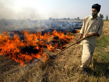 File image of farmer burning paddy husks after a harvest in Chandigarh. Reuters