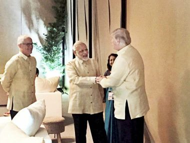 Prime Minister Narendra Modi met US president Donald Trump at the ASEAN Summit in Manila on Sunday. PTI