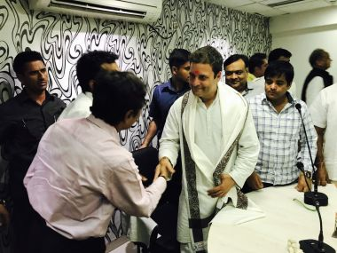 Congress vice-president Rahul Gandhi met traders and merchants from the textile industry during his recent road show in Surat. Image procured by Pallavi Rebbapragada.