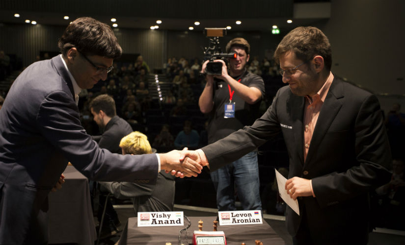 Viswanathan Anand and Levon Aronian at the start of their Round 4 bout. Spectrum Studios