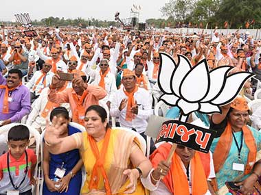 The crowd cheers for Prime Minister Narendra Modi at an election rally in Dharampur. Twitter @BJP4India