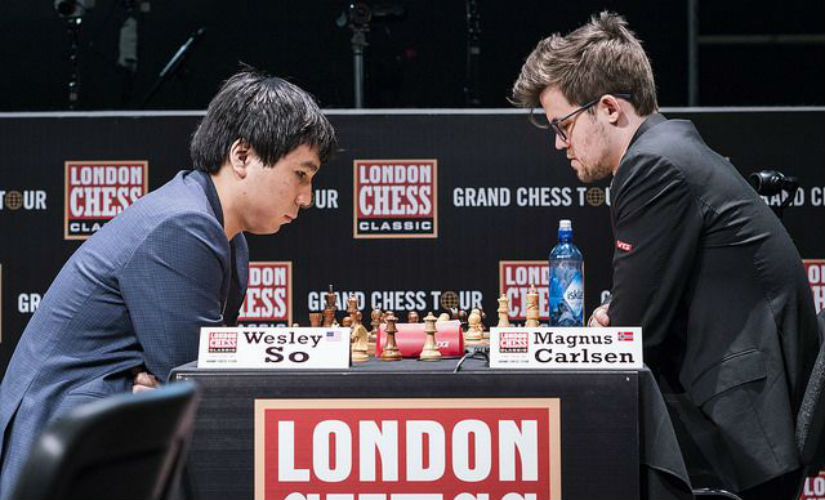 Magnus Carlsen and Wesley So in action. Lennart Ootes