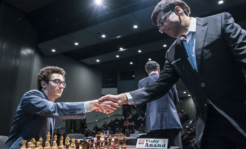 Fabiano Caruana (L) and Viswanathan Anand just moments before their game. Spectrum Studios