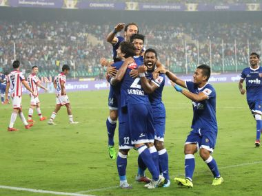 Chennaiyin FC players celebrates the goal during match with ATK. Image courtesy: ISL/Sportzpics