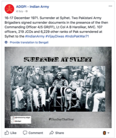 Indian Army's misleading tweet about 1971 war adds to
