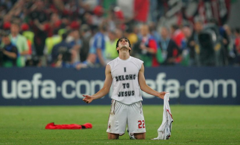 Kaka sporting the iconic 'I Belong to Jesus' undershirt after Ac Milan's win over Liverpool in the 2007 Champions League final. Reuters