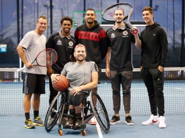Basketball and tennis players during the announcement of AO Game. Image courtesy: Twitter @NBL