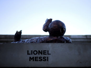 The statue of Argentina player Lionel Messi is seen after it was vandalized in Buenos Aires, Argentina. Reuters