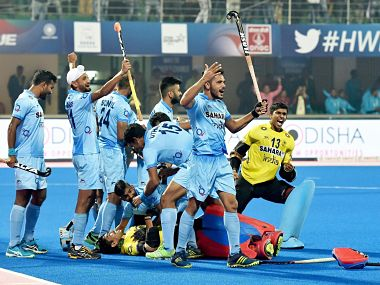 Bhubaneswar: Indian players jubiliate after win 2nd Quarter final match against Belgium in penalty shoot out during Men's Hockey World League Final at Kalinga Stadium in Bhubaneswar on Wednesday night. PTI Photo by Swapan Mahapatra(PTI12_6_2017_000194B)