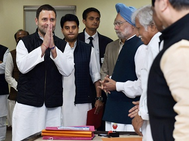 Rahul Gandhi with party leaders. PTI