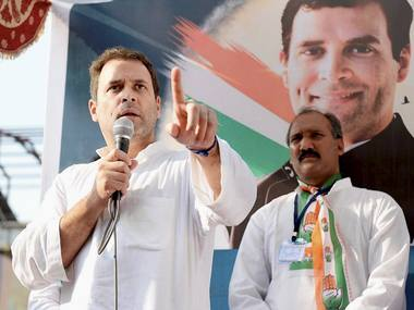 File image of Rahul Gandhi on the campaign trail. PTI