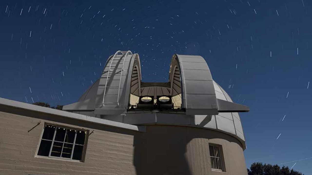 Two PANOSETI telescopes installed in the recently renovated Astrograph Dome at Lick Observatory. Image credit: Laurie Hatch/UC San Diego