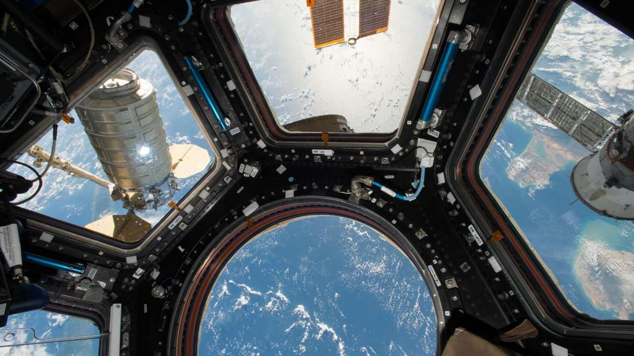 The view of the Earth from the cupola of the International Space Station