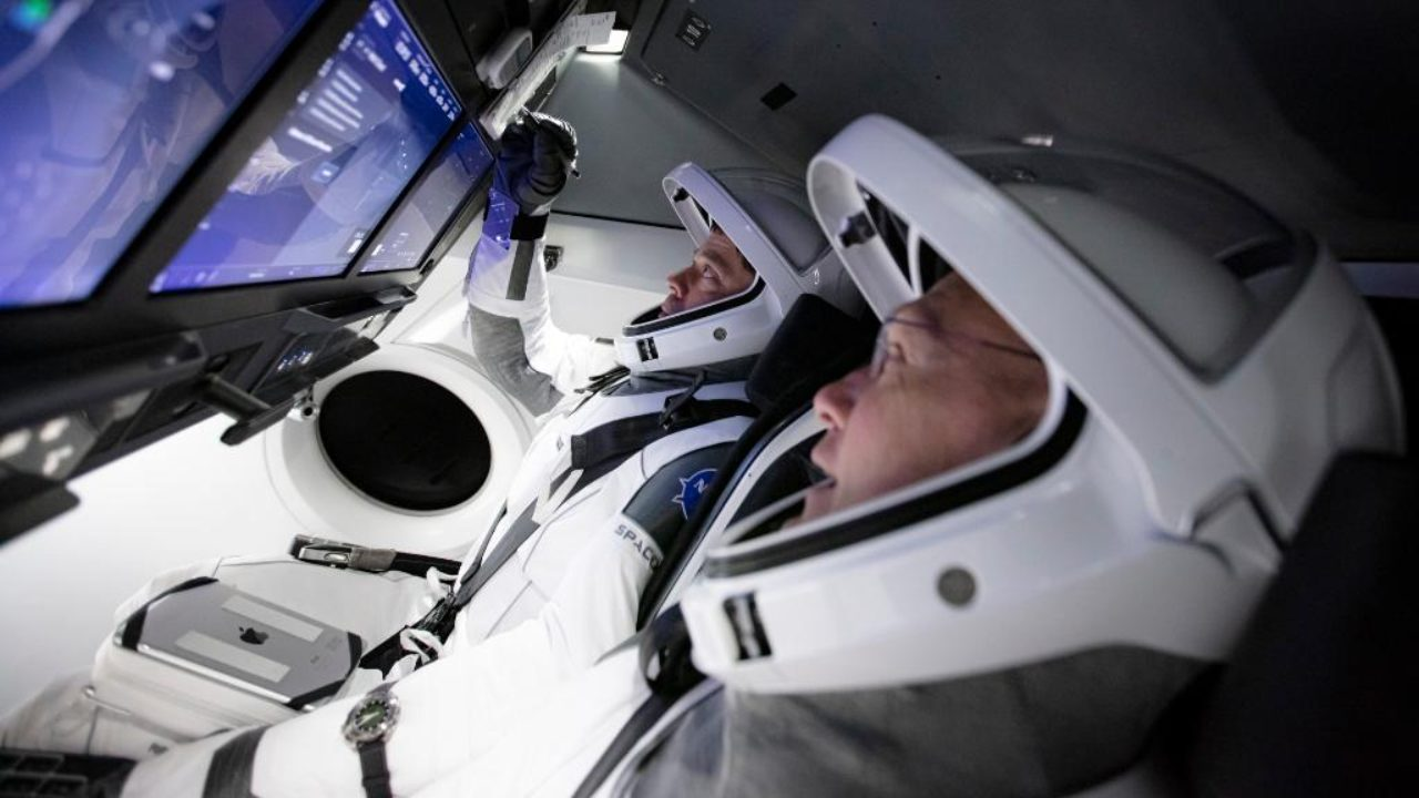 NASA astronauts during a pre-flight test in SpaceX Crew Dragon. Image credit: Twitter