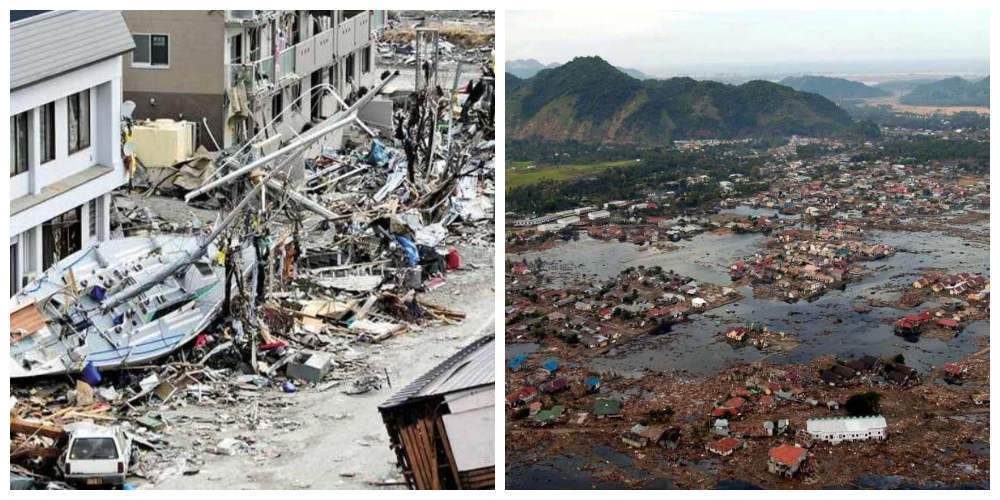 The destruction caused by the 2004 Indian Ocean earthquake and tsunami