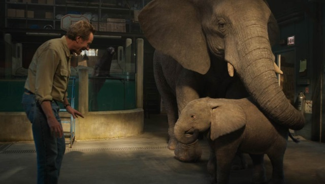 Bryan Cranston as Mack, Brooklynn Prince as Ruby, and Angelina Jolie as Stella in a still from The One and Only Ivan