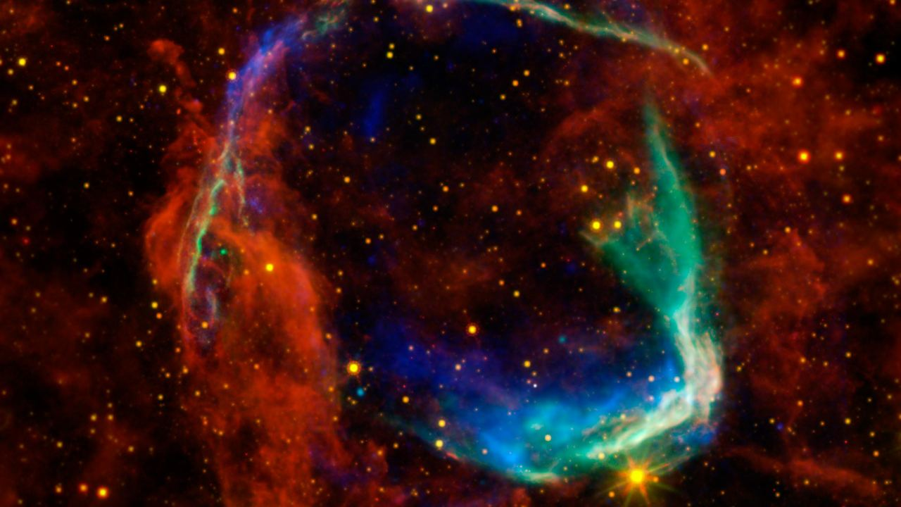 This image combines data from four different space telescopes to create a multi-wavelength view of all that remains of the oldest documented example of a supernova, called RCW 86.  Image credit: NASA