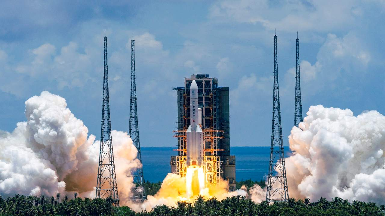 file photo released by China's Xinhua News Agency, a Long March-5 rocket carrying the Tianwen-1 Mars probe lifts off from the Wenchang Space Launch Center in southern China's Hainan Province. China's Mars probe Tianwen-1, which blasted into space in July, is now more than 15 million kilometers. Image credit: Cai Yang/Xinhua via AP