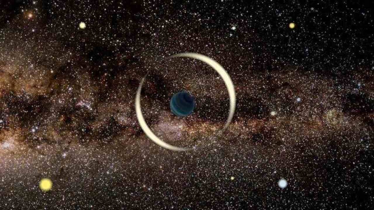 An artist's impression of a gravitational microlensing event by a free-floating planet. Image Credit: Jan Skowron / Astronomical Observatory, University of Warsaw
