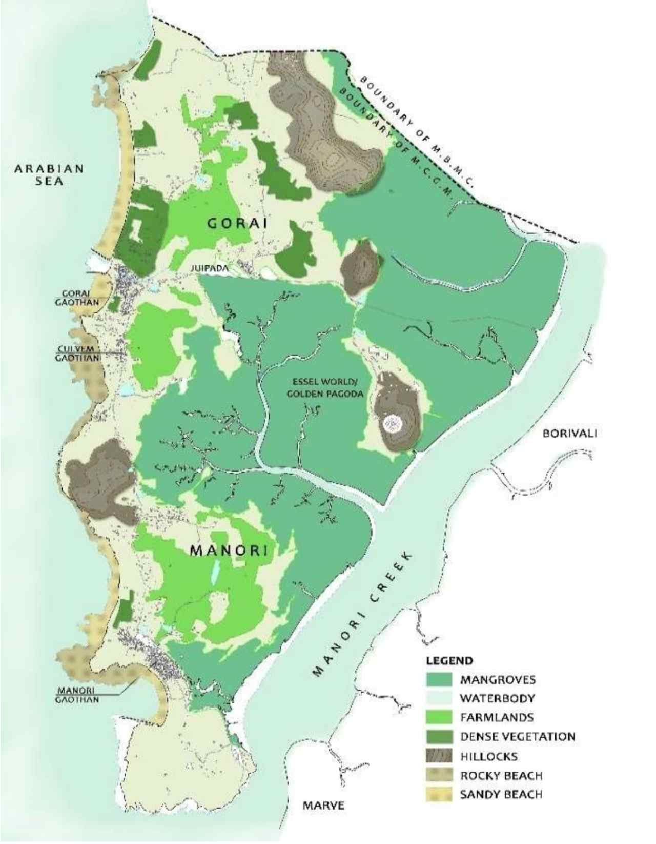 Map showing Natural Features in Gorai-Manori Area. Image: Author provided