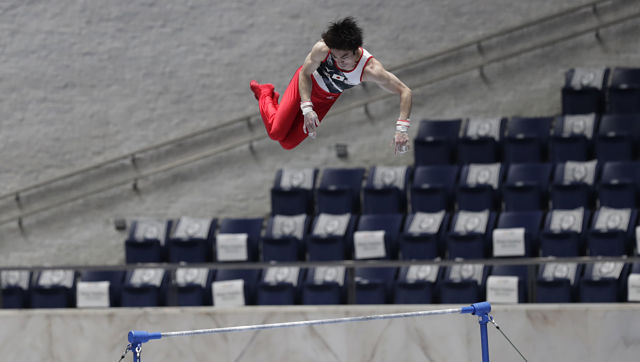 Japan's Kohei Uchimura competes in an international gymnastics meet on Sunday at Tokyo's Yoyogi National Stadium First Gymnasium. AP Photo