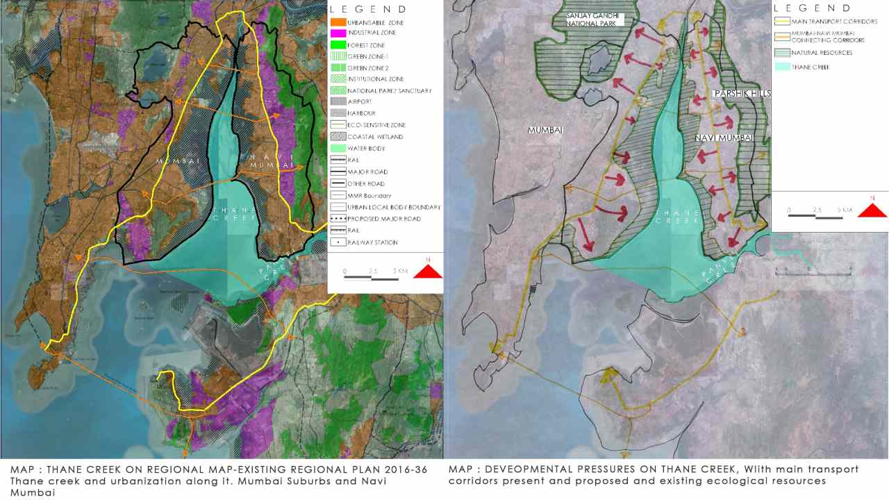 Map 1: Thane creek on regional map- existing regional plan 2016-36 with Thane creek and urbanisation alongside. Map 2: Developmental pressure on thane creek with main transport corridors existing and proposed along ecological resources. Image: Author provided