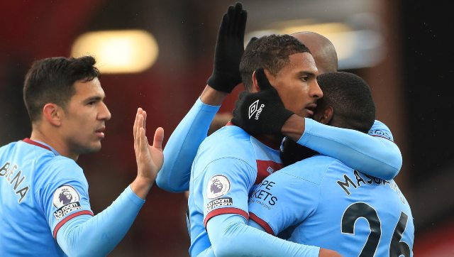 Sebastien Haller celebrates after scoring against Sheffield United. AP