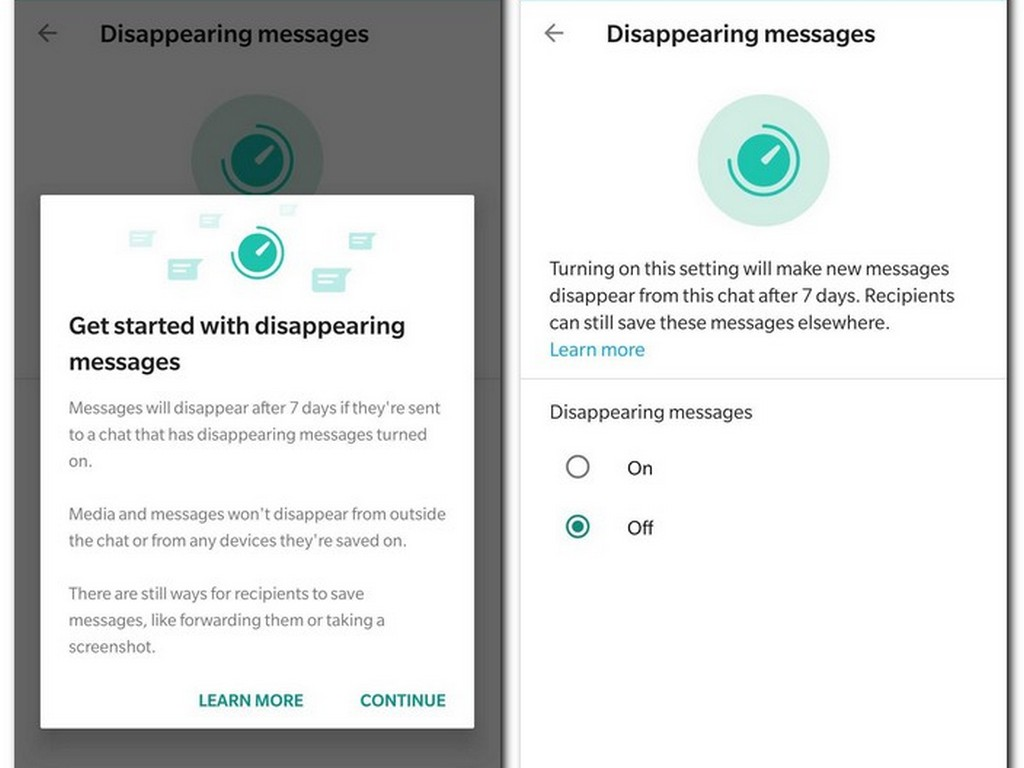 WhatsApp's Disappearing messages feature