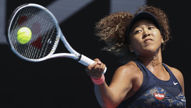 Naomi Osaka hits a forehand return to Taiwan's Hsieh Su-wei during their quarter-final match at the Australian Open. AP